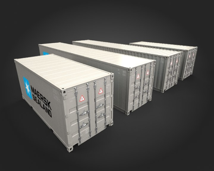 containers sets modeled 3d 3ds