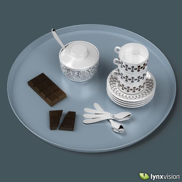 3d coffee tray set chocolate