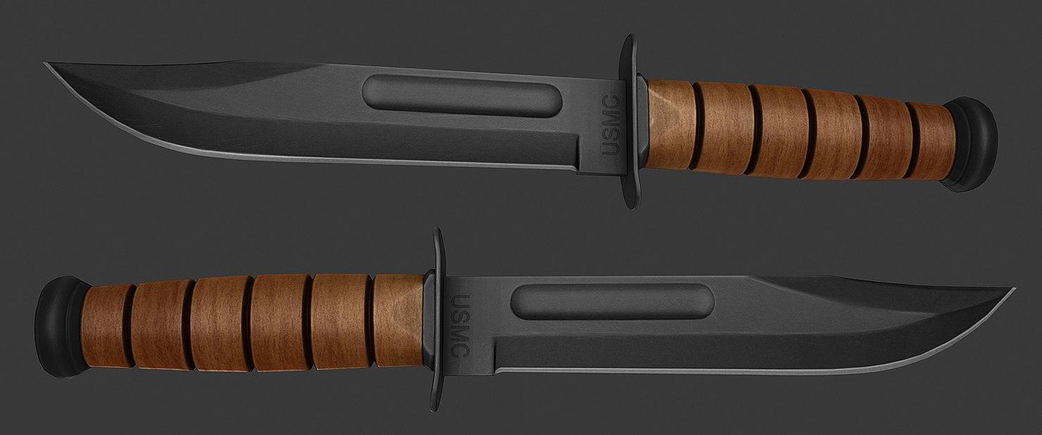 usmc ka-bar knife 3d model