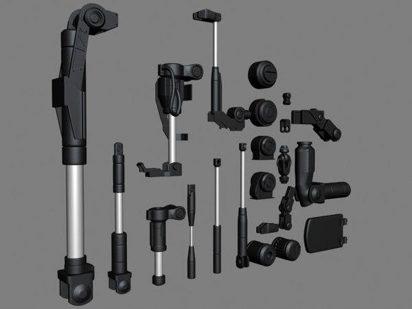 kitbash joints hydraulics mech robot obj