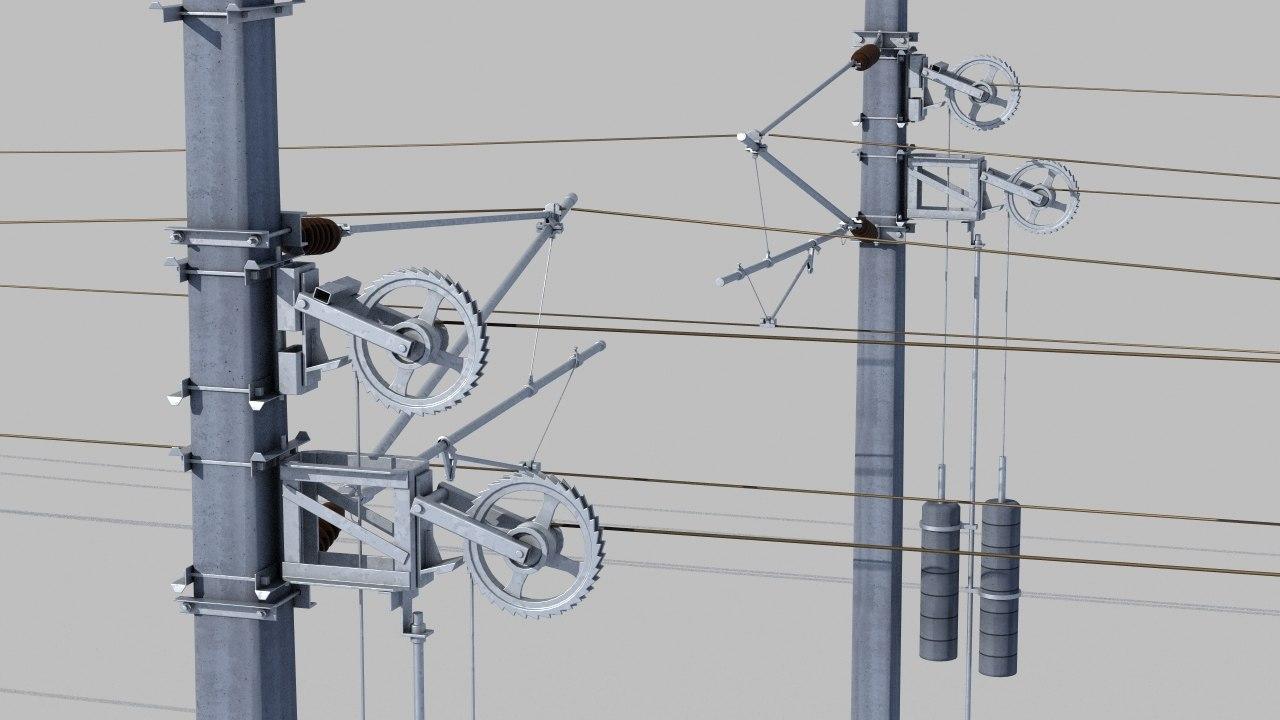 wiring railway tracks 3d model