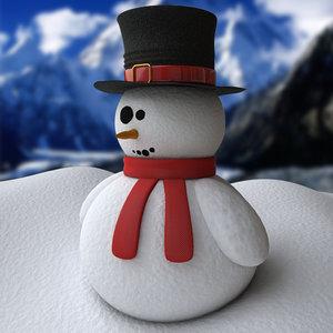 snowman decoration modeled 3d 3ds