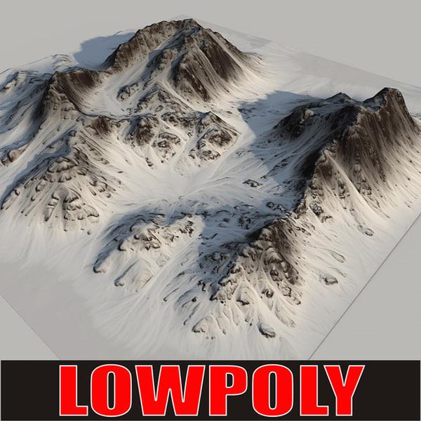 3d snowy mountain
