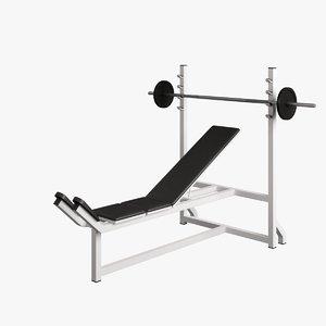 3d fitness supine bench model