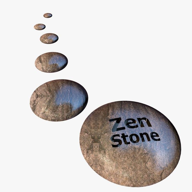 3d japanese zen stones