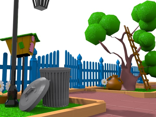 3d model cartoon gate