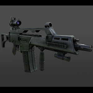 realistic assault rifle 3d model