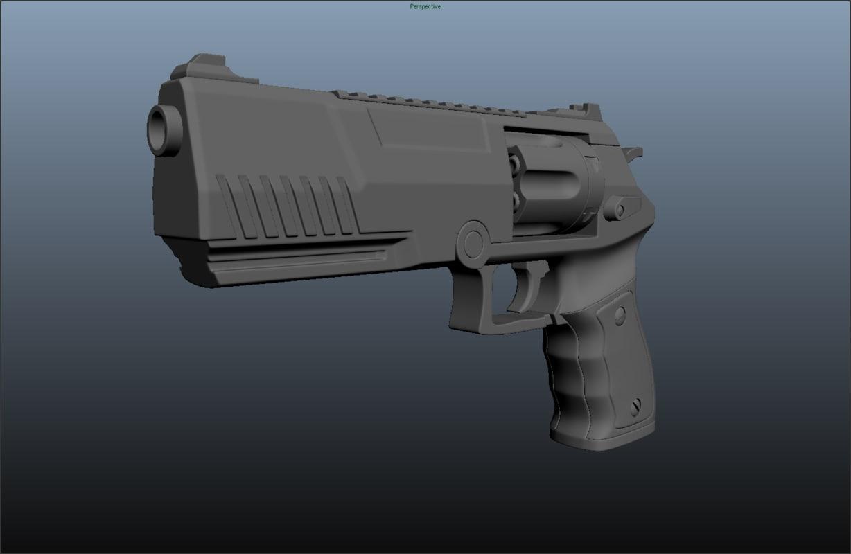 free obj model futuristic revolver