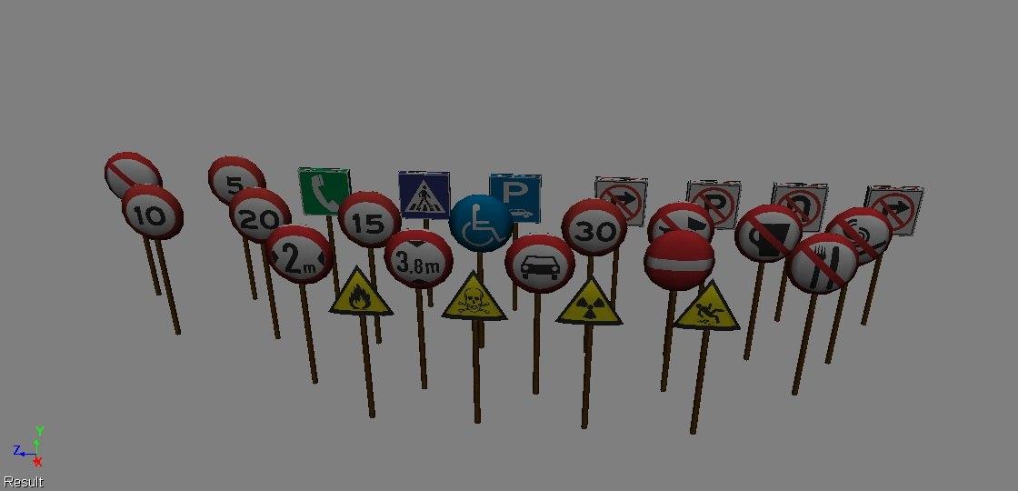 road signs 3d x