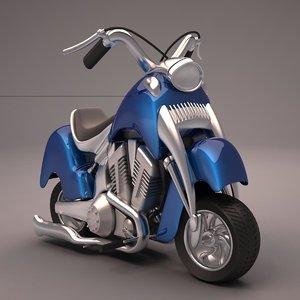 cartoon chopper bike 3d obj