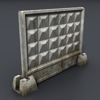 concrete fence section c4d