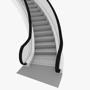 curved escalator 3d model