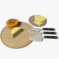 3d model of cheese knife set