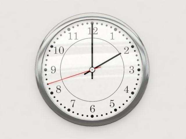 3d white wall clock model