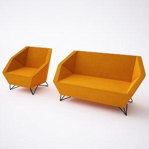 max kvadra 3angle armchair sofa