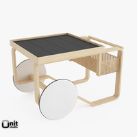3d tea trolley 900 alvar aalto model