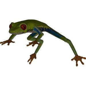 realistic green tree frog 3d model
