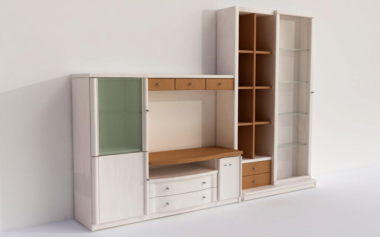 modern bookcase tv library 3d model
