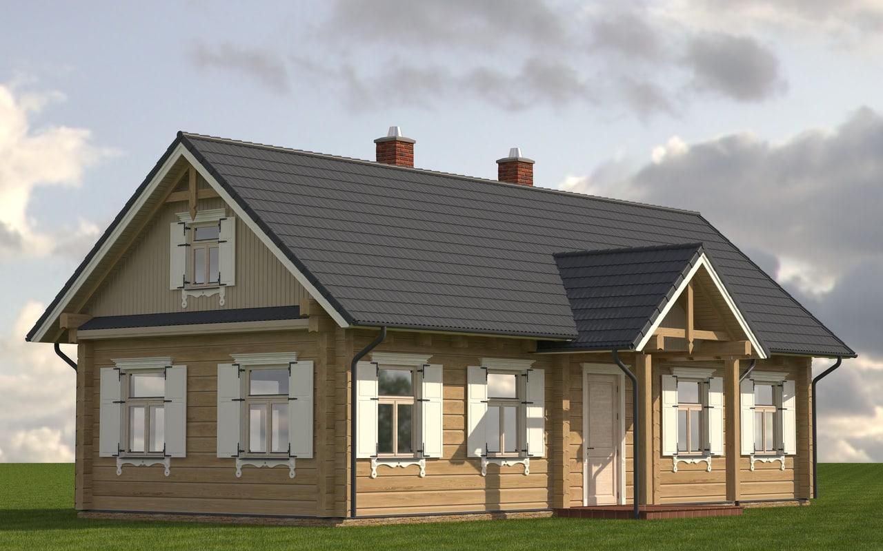 3d wooden log house model