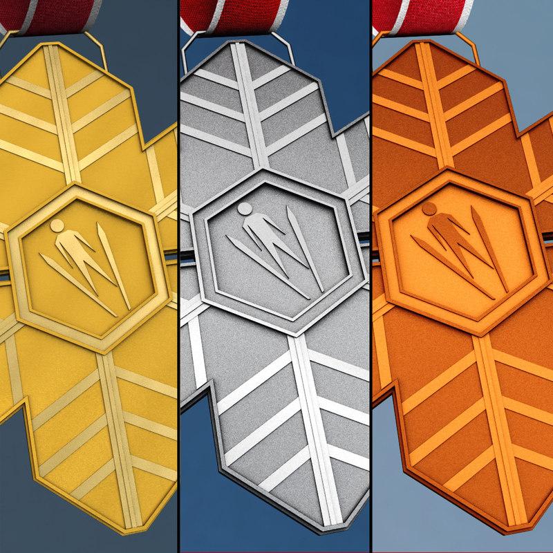 pack winter sport medals 3d 3ds