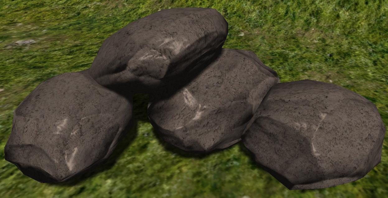 3d 4 ready stones rocks model