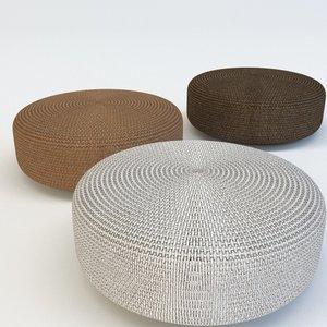 3d pouf rattan model