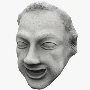 3d satyr face statue 2
