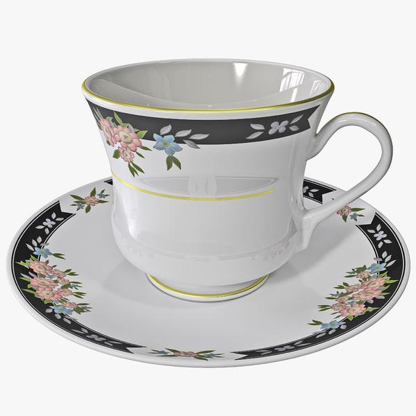 tea cup saucer 3d model