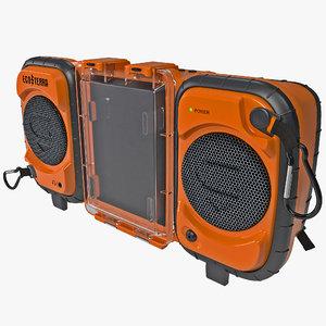 3d model waterproof stereo boombox ecoxgear
