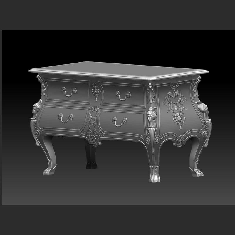 3d obj chest drawers antique