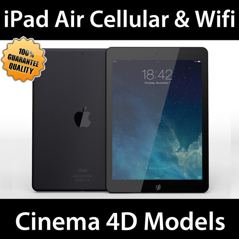 apple ipad air wifi 3d c4d
