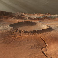 Mars-like landscape with crator