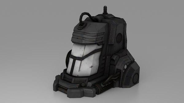 3d model sci-fi stasis pod prop