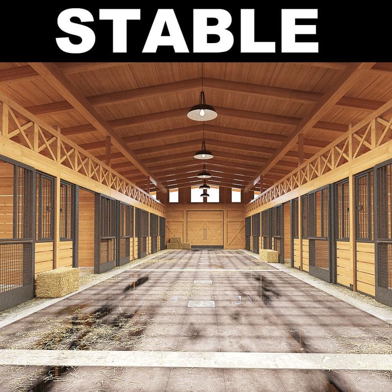 3d stable hay haybales model