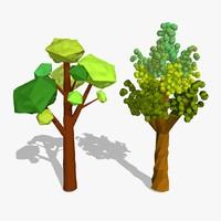 cartoon trees 3d model