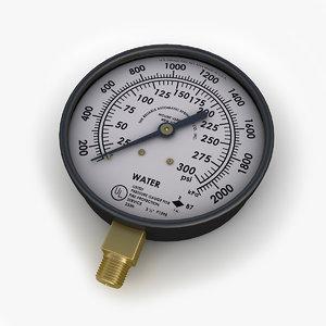 3d model water pressure gauge