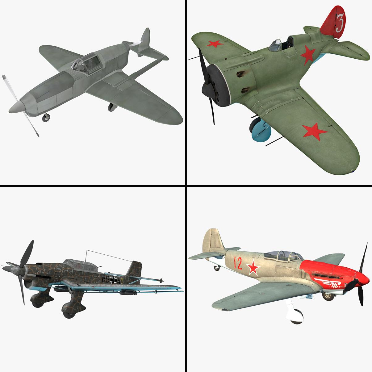 3d world war ii aircraft model