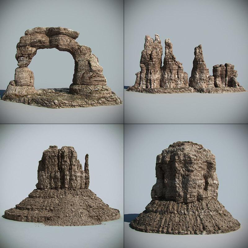 3d model desert rocks