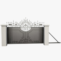 wrought driveway iron gate 3d max