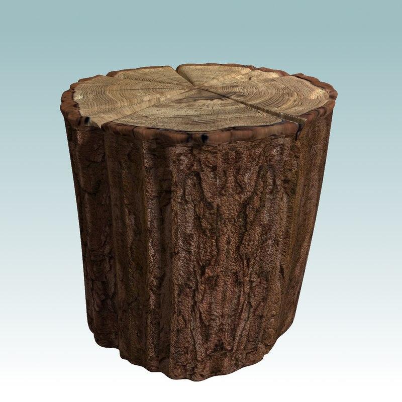 3d wooden stump model