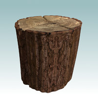 3d wooden stump model