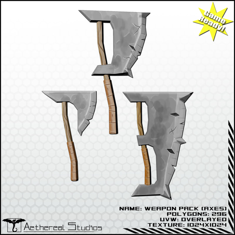 axes fantasy weapon pack 3d model