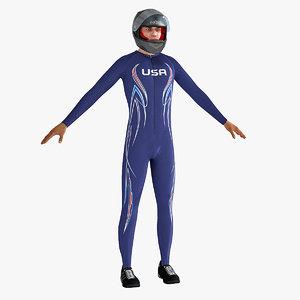 3d bobsleigh player model