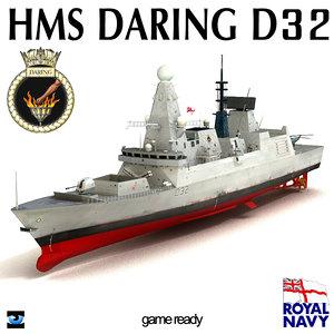3d hms daring d32 type 45