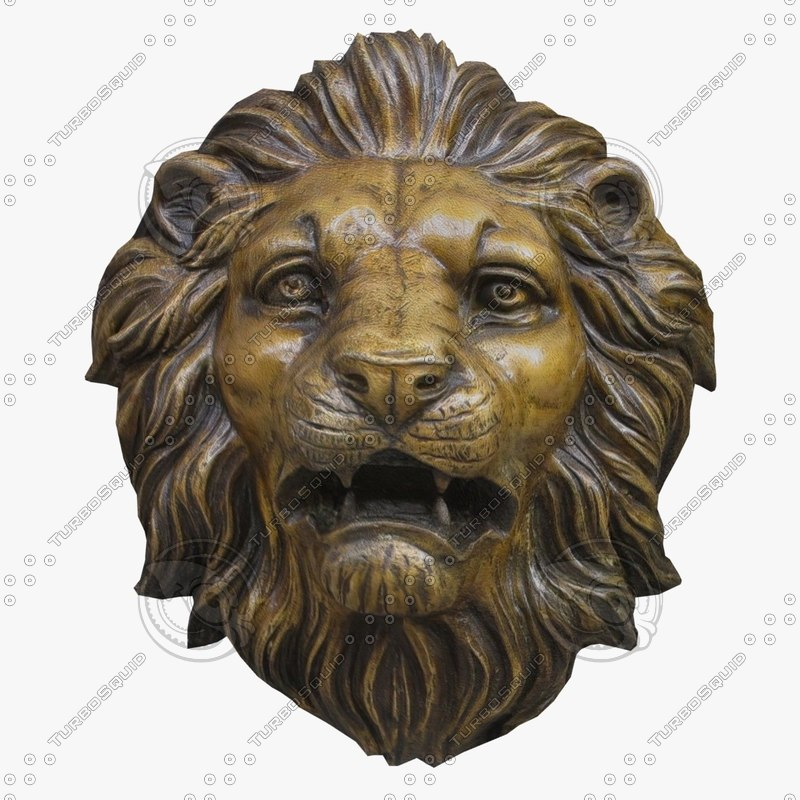 wall lion head fg 3d obj
