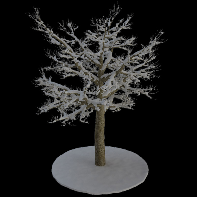 3d tree 8 branches snow model