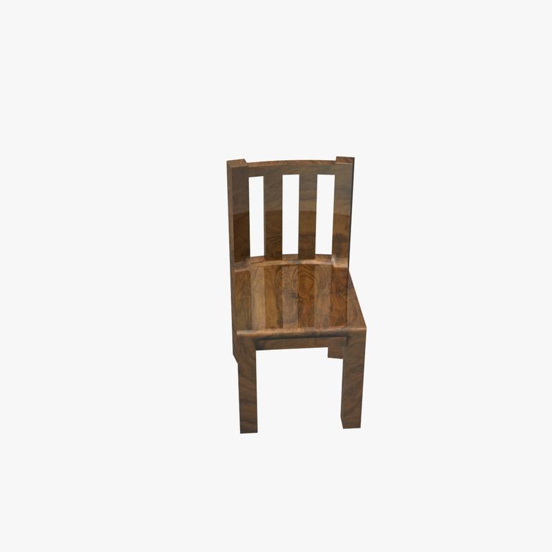 basic wooden chair - 3d model