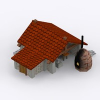3d cartoon stone blacksmith shop model