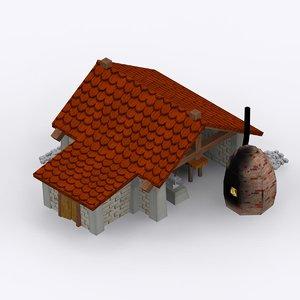3d cartoon stone blacksmith shop model