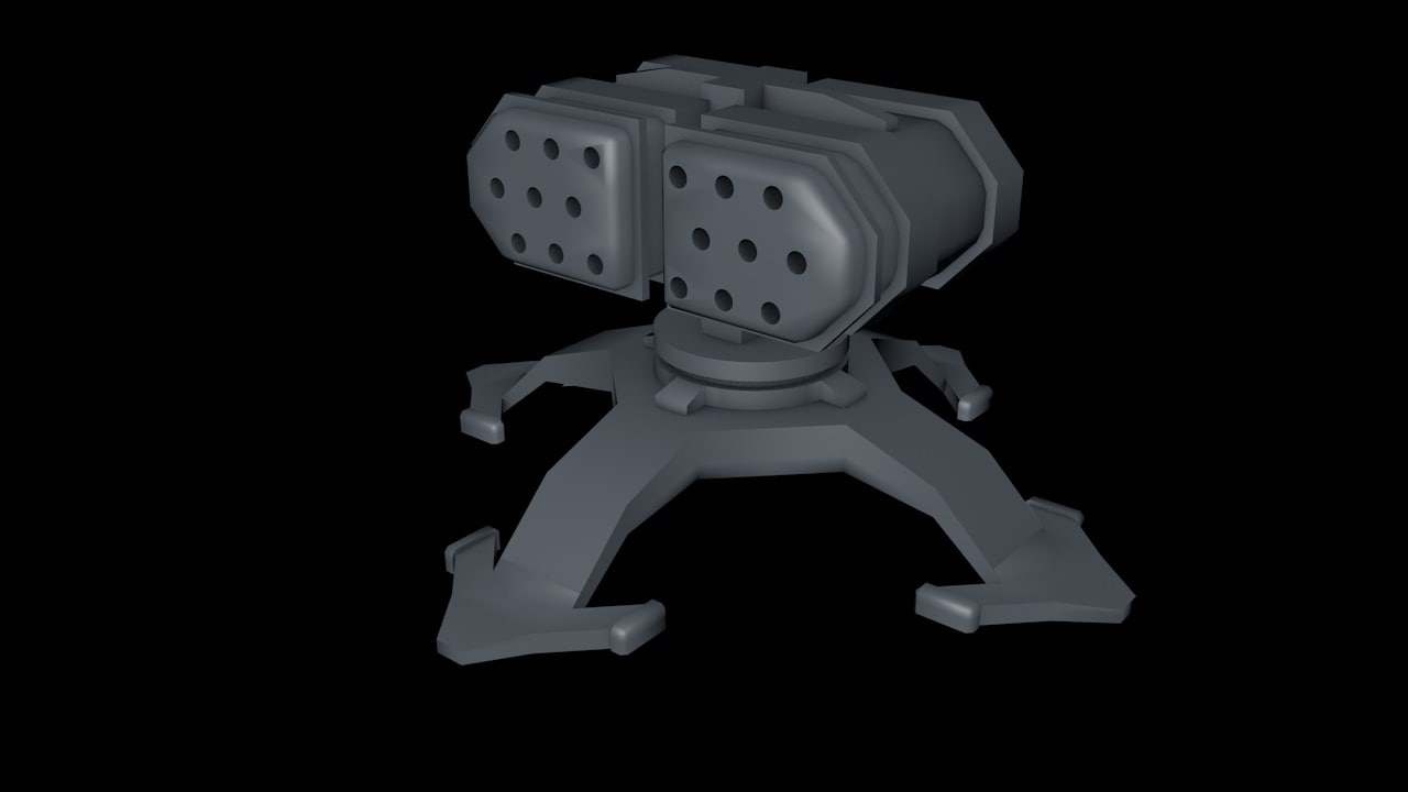 3d model missile launcher rocket turret